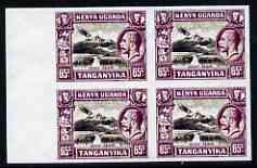 Kenya, Uganda & Tanganyika 1935 Mount Kenya KG5 65c imperf block of 4 being a 'Hialeah' forgery on gummed paper (as SG 117), stamps on mountains, stamps on forgery, stamps on forgeries, stamps on  kg5 , stamps on