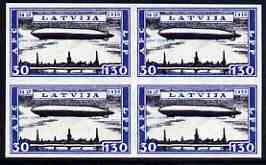 Latvia 1933 Charity 30-130s Graf Zeppelin imperf block of 4 being a 'Hialeah' forgery on gummed paper (as SG 245)