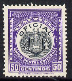 Venezuela 1912 Official 50c (without Stars) virtually unmounted mint SG O357