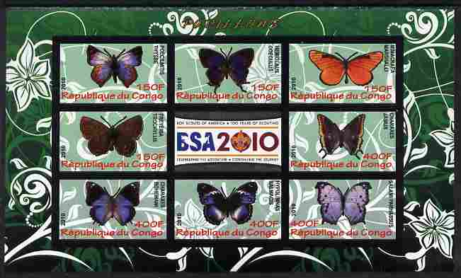 Congo 2010 Butterflies #01 imperf sheetlet containing 8 values plus Scouts label unmounted mint