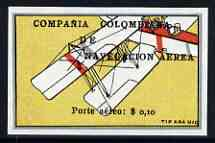 Colombia 1920 Left Wing of Biplane 10c imperf being a 'Hialeah' forgery on gummed paper (as SG 3)