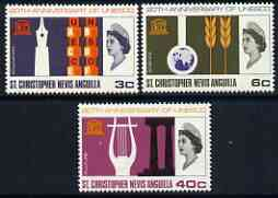 St Kitts-Nevis 1966 UNESCO set of 3 unmounted mint, SG 163-65, stamps on unesco