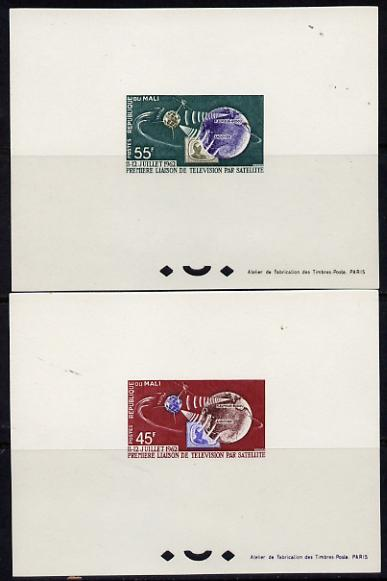 Mali 1962 Satellite Link pair in fine Epreuves deluxe souvenir proof sheets (from very limited printing) unmounted mint SG 55-6