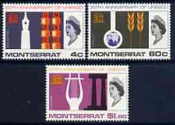 Montserrat 1966 UNESCO set of 3 unmounted mint, SG 187-89