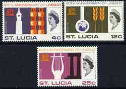St Lucia 1966 UNESCO set of 3 unmounted mint, SG 226-28