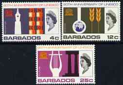 Barbados 1966 UNESCO set of 3 unmounted mint, SG 360-62