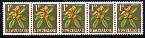 New Zealand 1960-66 Karaka 1d (from def set) perf 14.5x13 coil strip of 5 full perfs unmounted mint, SG 782b
