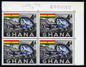 Ghana 1965 New Currency 4p on 4d Diamond & Mine corner block of 4, upper 2 stamps showing 'top of 4 missing' unmounted mint, SG 384var