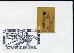 Postmark - Great Britain 1973 cover bearing special illustrated cancellation for Downend Cricket Club, birthplace of W G Grace