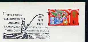 Postmark - Great Britain 1970 cover bearing illustrated cancellation for 12th British All Comers Sea Angling Championships (Tynemouth)