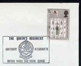 Postmark - Great Britain 1970 cover bearing illustrated cancellation for The Queen's Regiment, Canterbury (BFPS)