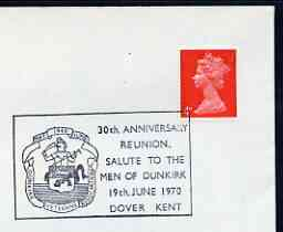 Postmark - Great Britain 1970 cover bearing illustrated cancellation for 30th Anniversary Reunion, Salute to the Men of Dunkirk