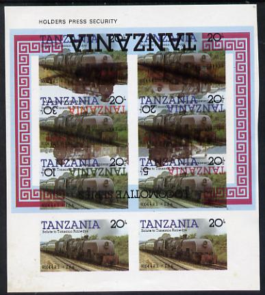 Tanzania 1985 Locomotive 6004 20s value (SG 432) unmounted mint imperf sheetlet of 8 doubly printed with m/sheet (SG MS 434), one being inverted, spectacular & rare