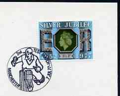 Postmark - Great Britain 1977 card bearing special illustrated cancellation for 2nd Test Match, Manchester