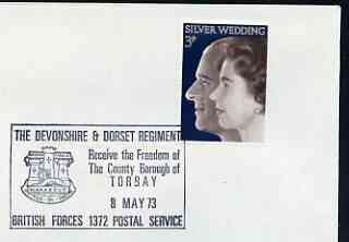 Postmark - Great Britain 1973 cover bearing special cancellation for Freedom of Torquay to The Devonshire & Dorset Regiment (BFPS)