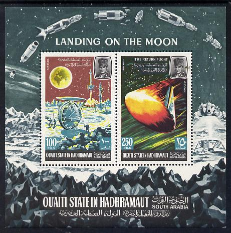 Aden - Qu'aiti 1967 Moon Landing miniature sheet unmounted mint, Mi BL 9A)