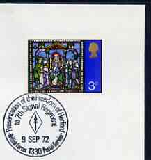 Postmark - Great Britain 1972 cover bearing special cancellation for Freedom of Herford to The Signal Regiment (BFPS)