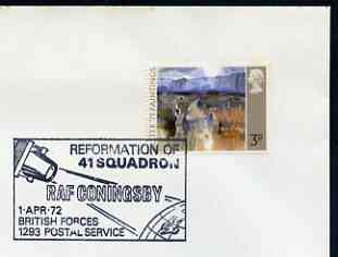 Postmark - Great Britain 1972 cover bearing special cancellation for Reformation of 41 Squadron, RAF Coningsby (BFPS)