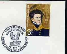 Postmark - Great Britain 1972 cover bearing illustrated cancellation for 32nd Anniversary of Battle of Britain (BFPS) showing a Bird