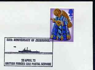 Postmark - Great Britain 1973 cover bearing illustrated cancellation for 55th Anniversary of Zeebrugge (BFPS)