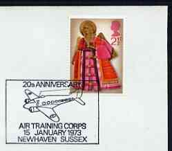 Postmark - Great Britain 1973 cover bearing illustrated cancellation for 20th Anniversary of Air Training Corps, Newhaven