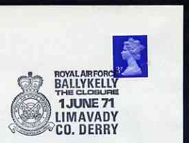 Postmark - Great Britain 1971 cover bearing illustrated cancellation for Closure of RAF Ballykelly