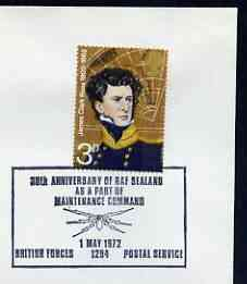 Postmark - Great Britain 1972 cover bearing illustrated cancellation for 30th Anniversary of RAF Sealand  (BFPS)