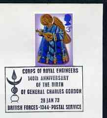 Postmark - Great Britain 1973 cover bearing special cancellation for Corps of Royal Engineers - 140th Anniversary of Birth of General Charles Gordon (BFPS)