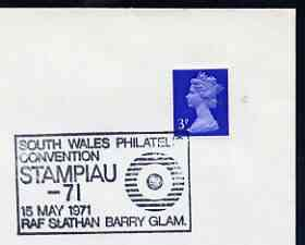 Postmark - Great Britain 1971 cover bearing illustrated cancellation for Stampiau 71 - South Wales Philatelic Convention, RAF St Anthan