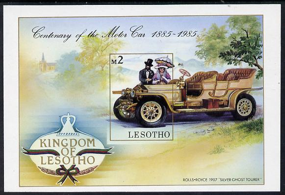Lesotho 1985 Centenary of Motoring unmounted mint imperf m/sheet (SG MS 645)