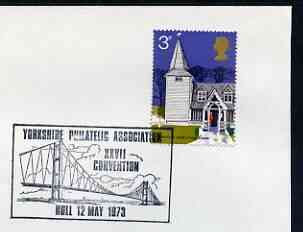 Postmark - Great Britain 1973 cover bearing illustrated cancellation for Yorkshire Philatelic Association 27th Convention, showing Humber Suspension Bridge