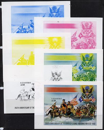 Lesotho 1982 250th Birth Anniversary George Washington m/sheet the set of 6 imperf progressive proofs comprising the 4 main individual colours plus 2 different combination composites, extremely rare