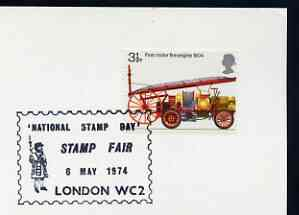 Postmark - Great Britain 1974 card bearing illustrated cancellation for National Stamp Day, London WC (showing a Beefeater)