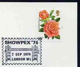 Postmark - Great Britain 1976 card bearing illustrated cancellation for Showpex '76, showing Tower Bridge