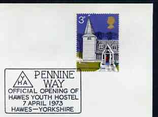 Postmark - Great Britain 1973 cover bearing illustrated cancellation for Pennine Way, Hawes Youth Hostel