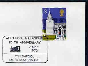 Postmark - Great Britain 1973 cover bearing illustrated cancellation for Welshpool & Llanfair (Narrow Gauge Railway) 10th Anniversary