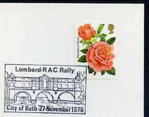 Postmark - Great Britain 1976 card bearing illustrated cancellation for Lombard RAC Rally showing Pulteney Bridge