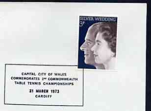 Postmark - Great Britain 1973 cover bearing special cancellation for Capital City of Wales - 2nd Commonwealth Table Tennis Championship (Cardiff)