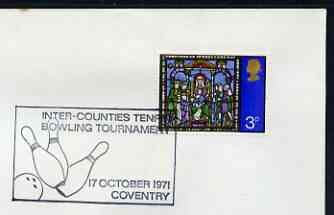 Postmark - Great Britain 1971 cover bearing illustrated cancellation for Inter-Counties Tenpin Bowling Tournament, Coventry