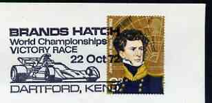 Postmark - Great Britain 1972 cover bearing illustrated cancellation for Brands Hatch World Championship Victory Race