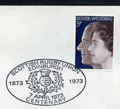 Postmark - Great Britain 1973 cover bearing illustrated cancellation for Scottish RuGreat Britainy Union Centenary (7 April)