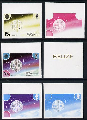 Belize 1983 Communications 15c (Telstar 2) x 6 imperf progressive proofs comprising various individual or composite colours unmounted mint