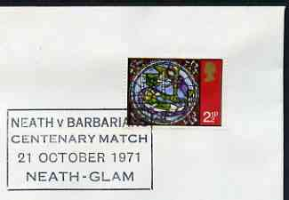 Postmark - Great Britain 1971 cover bearing illustrated cancellation for Neath v Barbarians Centenary Match