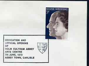 Postmark - Great Britain 1973 cover bearing illustrated cancellation for Official Opening of Holm Cultram Abbey Arts Centre