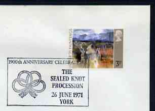Postmark - Great Britain 1971 cover bearing illustrated cancellation for The Sealed Knot Procession, York