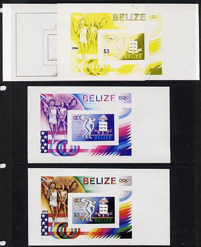 Belize 1984 Discuss Thrower (statue) Olympic Games m/sheet the set of 4 imperf progressive proofs comprising various single & multiple combination composites, extremely r...