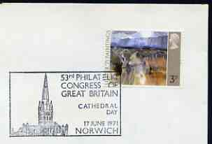 Postmark - Great Britain 1971 cover bearing special cancellation for 53rd Philatelic Congress of Great Britain, Norwich (showing Cathedral)