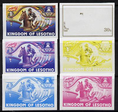 Lesotho 1984 Los Angeles Olympic Games 30s (Horse Riding) set of 6 imperf progressive proofs comprising various single & multiple combination composites, very scarce