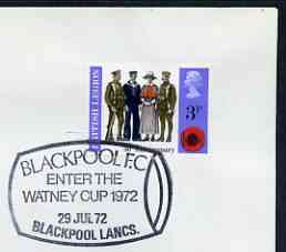 Postmark - Great Britain 1972 cover bearing illustrated cancellation for Blackpool FC Enter the Watney Cup