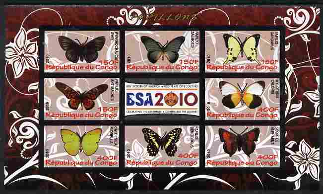 Congo 2010 Butterflies #02 imperf sheetlet containing 8 values plus Scouts label unmounted mint